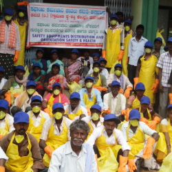 Safai karmacharis with safety equipment provided by Thamate. Pic source: Thamate.
